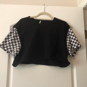 Black LF crop top with checker sleeves